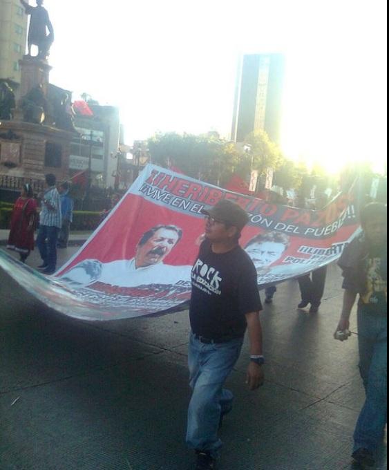 Crispín Velasco el supuesto desplazado en la marcha del grupo paramilitar MULT-Partido Unidad Popular en la Ciudad de México